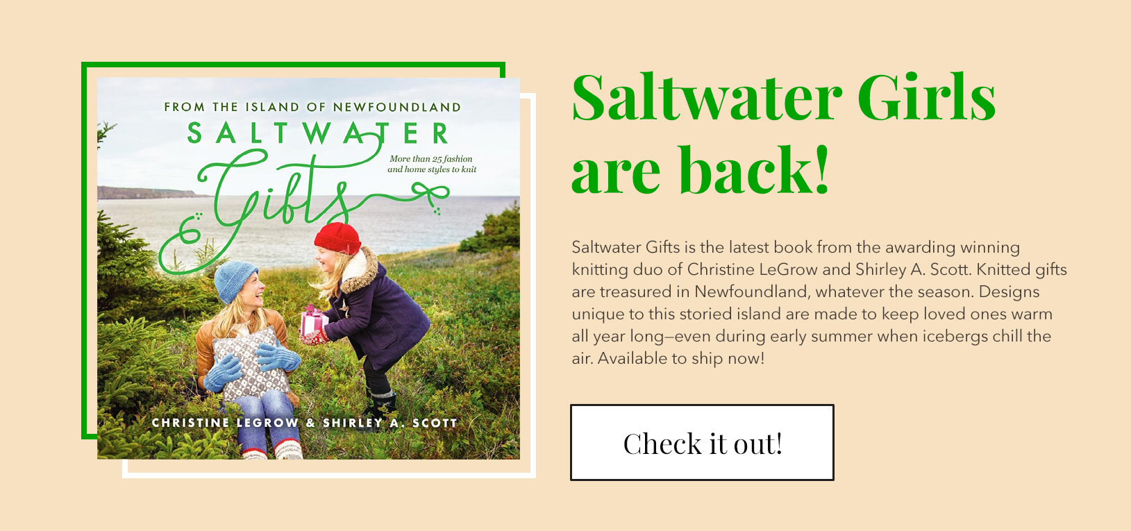 """Saltwater Girls are back! Shop Saltwater's latest book """"Saltwater Gifts"""" Full of adorable knitting patterns to share with your loved ones"""