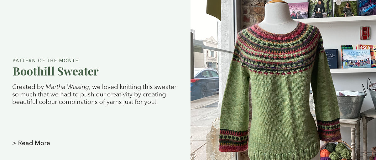 Created by Martha Wissing, we loved knitting this sweater so much that we had to push our creativity by creating beautiful colour combinations of yarns just for you!