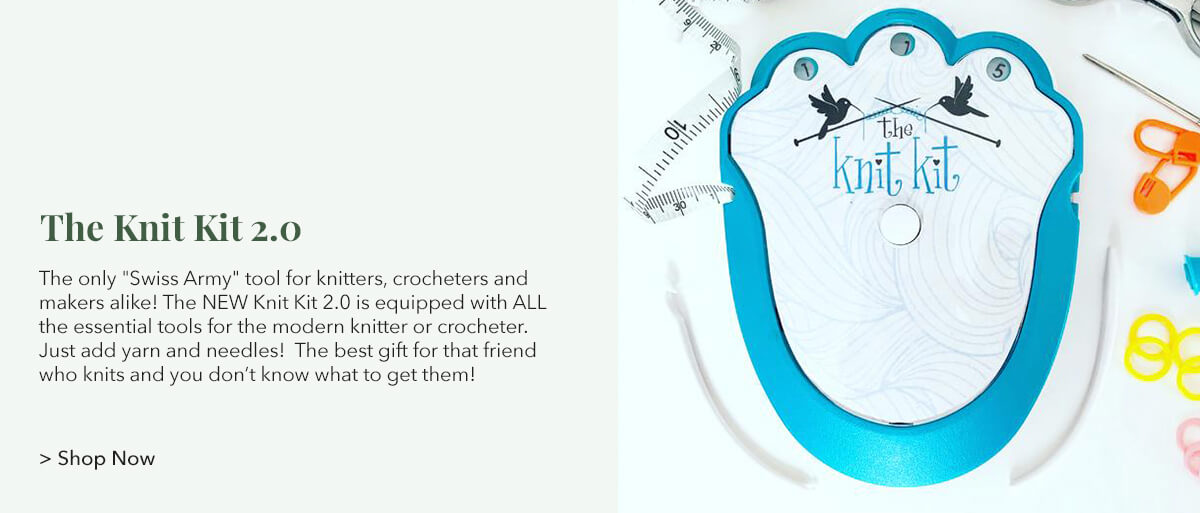 """The only """"Swiss Army"""" tool for knitters, crocheters and makers alike! The NEW Knit Kit 2.0 is equipped with ALL the essential tools for the modern knitter or crocheter. Just add yarn and needles! The best gift for that friend who knits and you don't know what to get them!"""